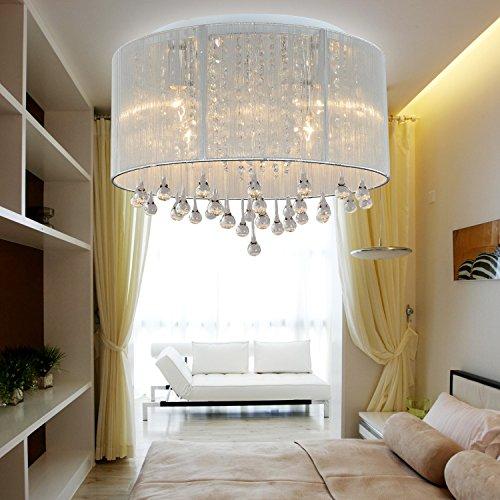 PLEASUR Glas Kronleuchter Kristalle, LED Deckenlampe Befestigung bündige Montage Dimmbar Acryl Pandent Licht für Schlafzimmer Wohnzimmer Esszimmer Transparent