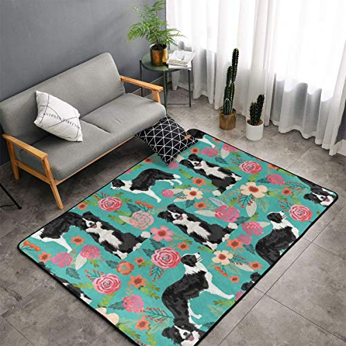 Border Collie Florals Area Rug Non-Slip Carpet Living Room Bedroom Kitchen Dining Coffee Table Rug