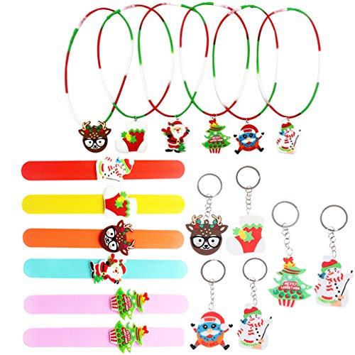PRETYZOOM Juego de 18 pulseras de silicona con llavero, diseño de reno y muñeco de nieve con figurita de Papá Noel, juguete para niños (estilo aleatorio)