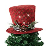 Wyness LED Lighteds Xmas Christmas Tree Topper Christmas Hat with Pinecones and Holly Berries 15 inch (Dark Red)