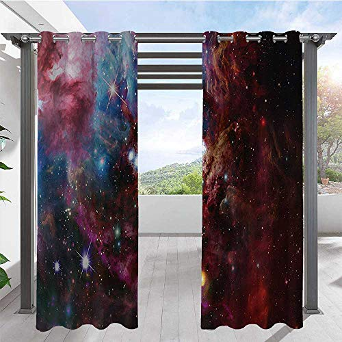 Outdoor Curtain Drapes Space Nebula with Star Cluster in the Cosmos Universe Galaxy Solar Celestial Zone Porch Decor Privacy Curtain Tastefully Designed for An Outdoor Space Teal Pink W72 x L84 Inch