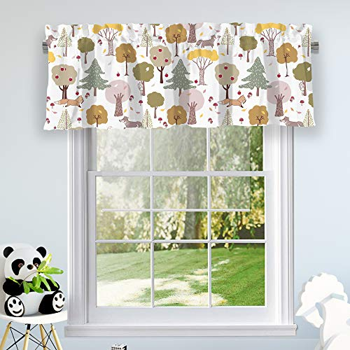 """INICEKEY Curtain Valance Cute Pixie Fox Trees Easter Bunny Rabbit Blackout Window Valance for Baby Girl Nursery, Pink and Gray 52""""x17""""+2"""" Header"""