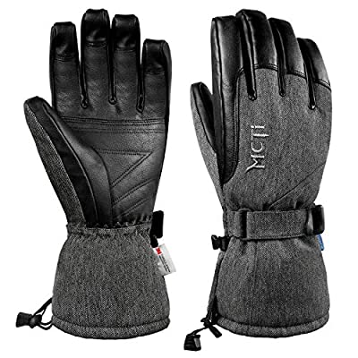 MCTi Waterproof Winter Mens Gloves,Ski Snowboard PU Leather 3M Thinsulate Warm Gloves for Riding Motorcycle Cold Weather