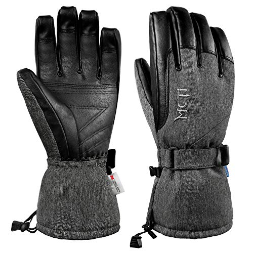 MCTi Waterproof Windproof Men's Winter Ski Snow Snowboard Leather Work Thermal Lined Gloves Gauntlet for Cold Weather 150 Grams 3M Thinsulate Insulation Black Large