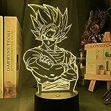 3D Dragon Ball Lámpara Goku Figura Nightlight Cool Kids Regalo de Cumpleaños Anime Gadget Led Night ...
