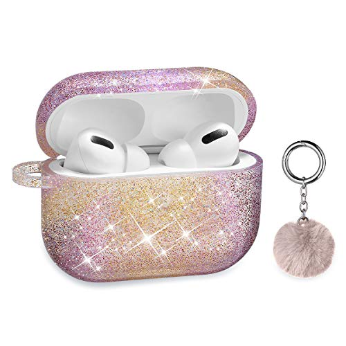 Airpods Pro Case, DMMG Airpods Case Cover Silicone Skin, AirPods Protective Cute Bling Glitter Case with Fluff Ball Keychain, Scratch Proof and Drop Proof for Apple Airpods Pro(Colours)