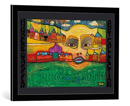kunst für alle Bild mit Bilder-Rahmen: Friedensreich Hundertwasser Irinaland über dem Balkan - dekorativer Kunstdruck, hochwertig gerahmt, 67x48 cm, Schwarz/Kante grau