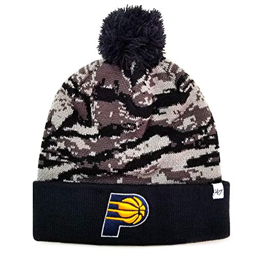 '47 Brand NBA Indiana Pacers Tigershade Camo Pom Top Stretch Knit Beanie Hat