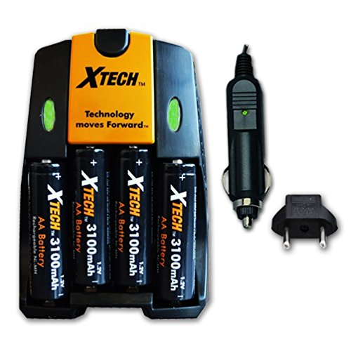 Xtech High Speed AC/DC Charger plus 4 AA NiMH 3100mAh High Capacity Rechargeable Batteries for Canon Powershot SX160 IS, SX150 IS, SX130 IS, SX120 IS SX110 IS, SX100 IS, SX20 IS, SX10 IS, SX5 IS, SX3 IS, SX2 IS, SX1 IS, E1 Digital Cameras