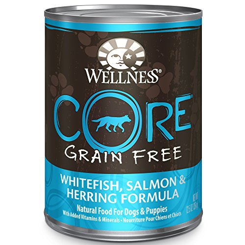 Wellness CORE Natural Wet Grain Free Canned Dog Food, Whitefish, Salmon & Herring, 12.5-Ounce Can (Pack of 12) (7945)