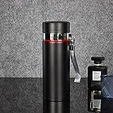 Jusemao Hervidor de agua portátil de acero inoxidable para la oficina de negocios, botella termo de 500 ml 12/negro caliente_500 ml