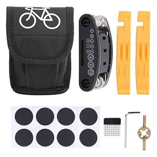 Eddwiin Bicicleta 16 en 1 Kit de Herramientas de reparación de neumáticos Multifuncional Herramienta de reparación de pinchazos de Bicicleta con Bolsa