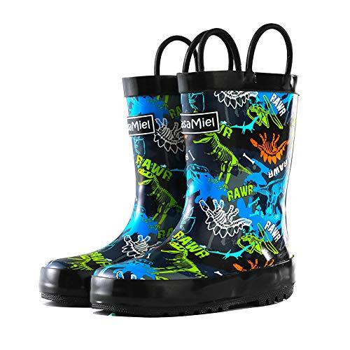 CasaMiel Toddler Rain Boots Boys Girls Kids Rain Boots for Toddler Boys, Kiddo Waterproof Natural Rubber Rain Boots for Babies and Bigger Kids Children Water Boots Botas para Niños