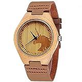 Hombres Mujeres Unicornio reloj moda casual ligero hecho a mano de madera relojes regalo