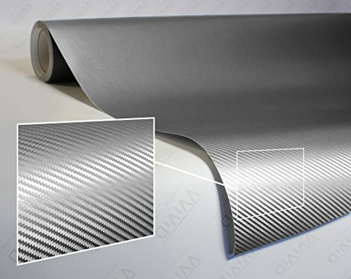 VViViD XPO Sterling Silver 3D Carbon Fiber Vinyl Wrap Roll with Air Release Technology (1.5ft x 5ft)