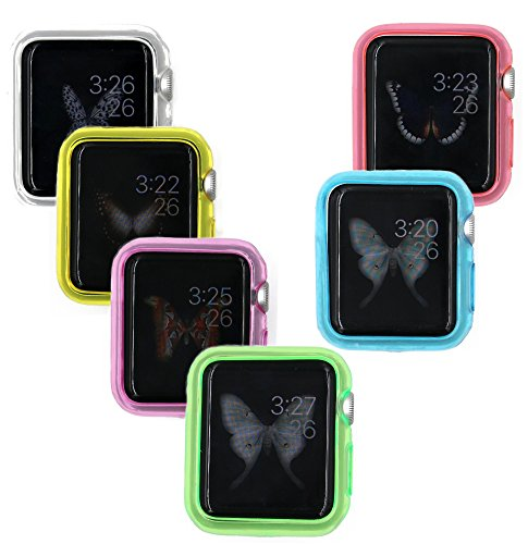 BLLQ Compatible with Apple Watch 2 Case,38mm [ 6 transparent color pack ],[Ultra-Thin] soft colorful TPU Case with 6 Pieces 0.125mm PET screen Protector for iwatch Series 1 ( 2015 ) and Series 2 ( 2016 ) 38mm ( 6 pack )