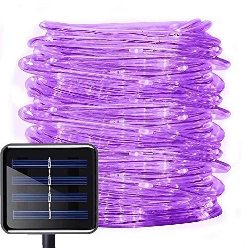 Solar Lichtschlauch Außen, DINOWIN 39 ft/12M 100 LEDs Schlauch lichterkette Wasserdicht Schlauchlicht Lichtschlauch, Seil Beleuchtung für Garten Yard Weg Zaun Baum Hochzeit Party Deko Modern (Lila)