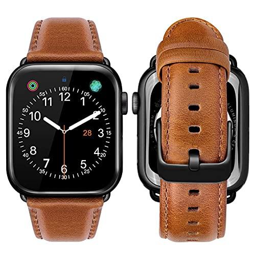 KAEGREEL Correas compatibles con Apple Watch Correa 44 mm 42 mm, Correa de Repuesto de Cuero Genuino para Mujer Compatible con Apple Watch SE, Serie 6/5/4/3/2/1,42mm/44mm