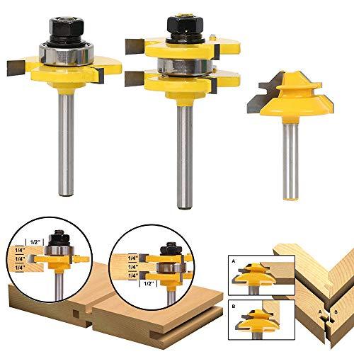 ASNOMY Fräser Set, 3-teilig Oberfräser Set, 6.35mm Schaft Zungenschaft und Nutfräse Set und 45 Grad Lock Mitre Router Bit für Elektro Oberfräsen, Oberfräsen Zubehör, Holzbearbeitungswerkzeuge