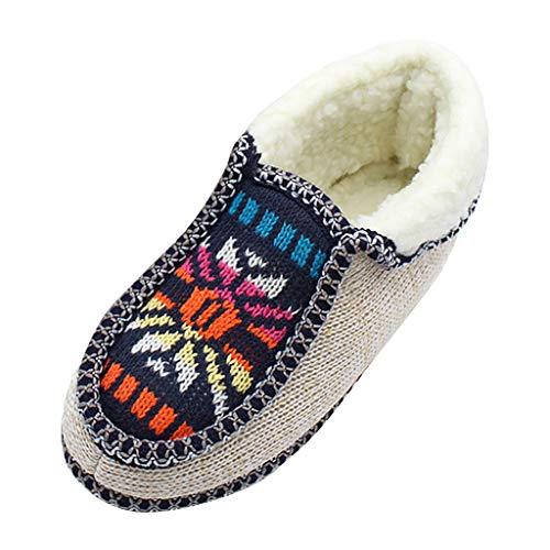 Fannyfuny Mujeres Zapatos para Correr Deportes Invierno Zapatillas de Running de Estilo Nacional Adultos Unisex Calentar Al Aire Libre Flat para Caminar Zapatos