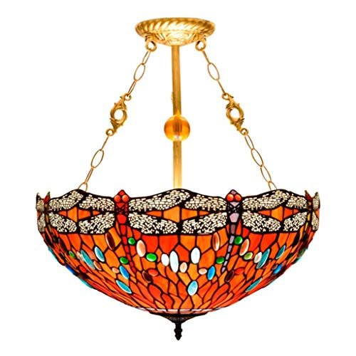 HNWNJ Iluminación Colgante Lámpara de Techo de Sala de Estar los 50CM Americano Retro Europeo del Vidrio Creativa Creativa libélula roja manchada salón araña de Comedor