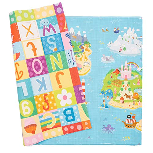 Baby Care Play Mat - Playful Collection (Large, Magical Islands) - Play Mat for Infants – Non-Toxic Baby Rug – Cushioned Baby Mat Waterproof Playmat – Reversible Double-Sided Kindergarten Mat