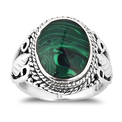 AeraVida Vintage Inspired Round Green Malachite Nature .925 Sterling Silver Ring (9)