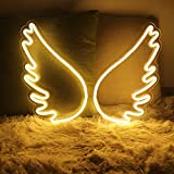 Neon Signs Light, USB Powered Acrylic LED Neon Lights for Wall Decor, Hanging Angel Wings Night Lights for Home Party Bar Pub Christmas Halloween
