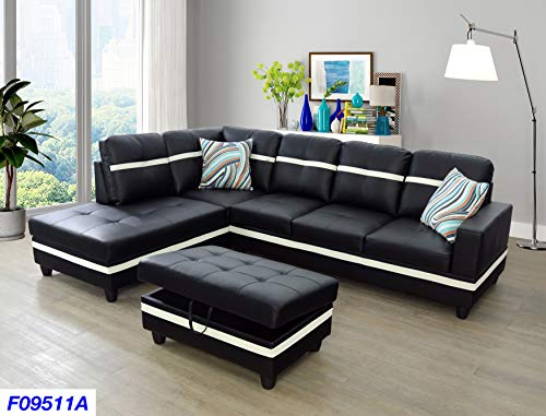 Lifestyle Furniture Left Facing 3PC Sectional Sofa Set,Faux Leather,Black(LSF09511A)