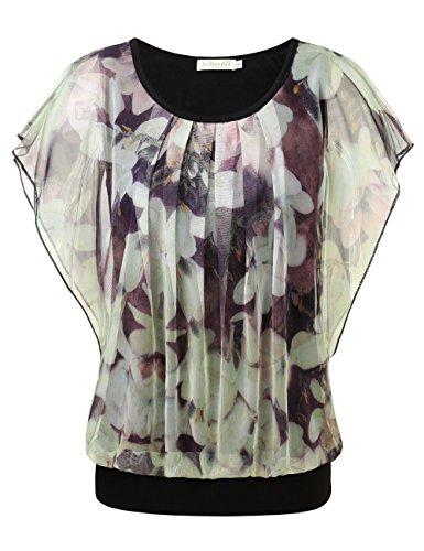 BAISHENGGT Damen Falten Kurzarm Tunika Batwing Rundkragen Bluse Apricot-Blumen XX-Large