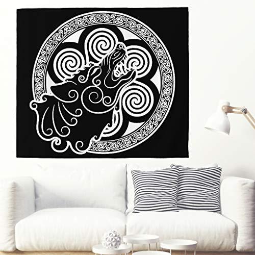Alfombra de tatuaje celta de lobo vikingo en espiral, decoración ...