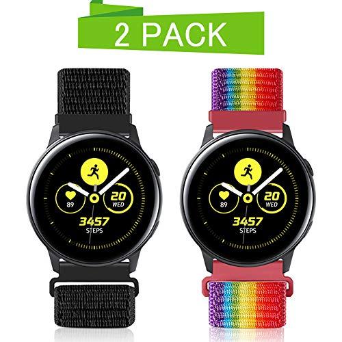 Vodtian 20mm Schnellwechsel Uhrenarmband für Samsung Galaxy Watch 42mm / Active2 44mm 40mm /Gear Sport/Garmin Vivoactive 3, Nylon Ersatz Sport Armband (20mm, Dunkles Schwarz+Regenbogen)