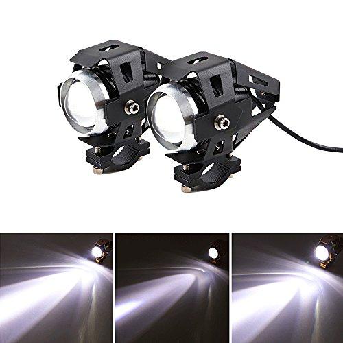 2 Stück Motorrad Scheinwerfer U5 LED 3000LM Motorrad Frontscheinwerfer 3 Modi von Fernlicht Abblendlicht Und Blinkt