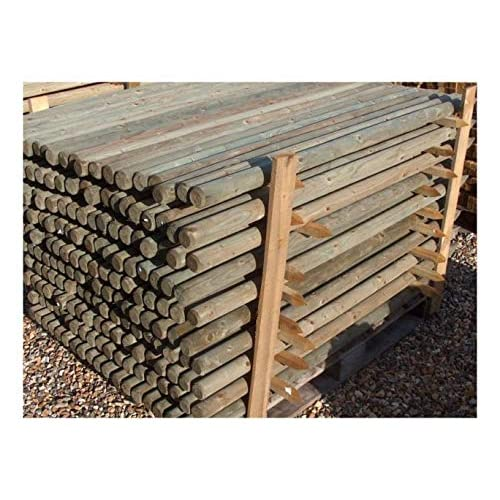 TREE STAKE 25 PACK OF 1.8m x 60mm MACHINE ROUND POINTED GARDEN TIMBER FENCE POST