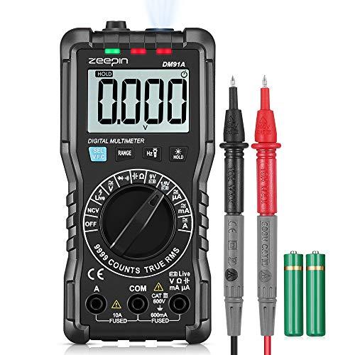 Digital Multimeter Zeepin Digitales Mehrfachmessgerät 9999 Zähler Multitestgerät Spannungsprüfer Automatisch Umschaltendes Elektronisches Messgerät mit LCD-Anzeige und Hintergrundlicht