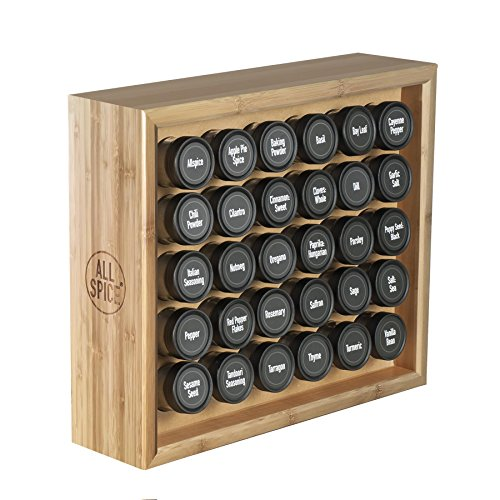 AllSpice Wooden Spice Rack, Includes 30 4oz Jars- Bamboo