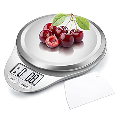 Digital Kitchen Scale with Dough Scraper,NUTRI FIT High Accuracy Multifunction Food Scale with Fingerprint Resistant Coating,Tare & Auto Off Function White