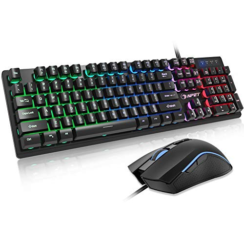 NPET S20 Wired Gaming Keyboard Mouse Combo, LED Backlit Quiet Ergonomic Mechanical Feeling Keyboard, Backlit Gaming Mouse 3200 DPI, for Desktop, Computer, PC