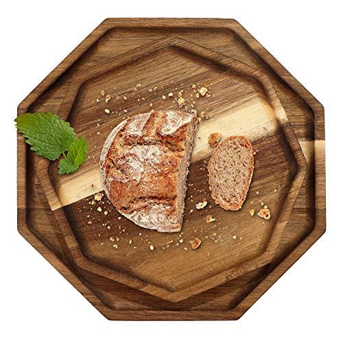 2 Pieces Wooden Octagon Square Trays Serving Bread Plates Vegetable Food Dish Dinner Trays Tea Fruit Dessert Breakfast Trays for Fruit Salad Dessert and More Foods