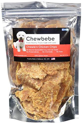 Chewbebe Chewie'S All Natural Chicken-Chip Dog Treats 100% Human-Grade Dehydrated Chicken Breast