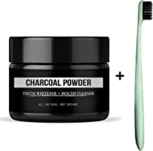 Teeth Whitening Charcoal Powder Genkent Natural Organic Activated Teeth Whitener with 1 PC Wheat Straw Brush Oral Care Set
