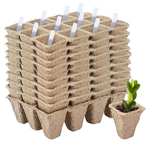 10 Samen-Starter-Set, 120 Zellen, biologisch abbaubar, Setzling-Schalen, kompostierbare Pflanztöpfe, Gartenarbeit, Keimtablett, Mini-Anzuchtkasten, Pflanzen-Wachstums-Set