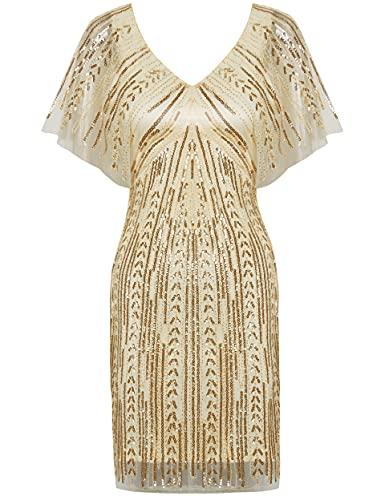 Coucoland 1920s Kleid Damen Kurz Ärmel V Ausschnitt Flapper Kleid 20er Jahre Paillettenkleider Great Gatsby Cocktail Party Damen Fasching...