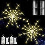 KIKILIVE Hanging Firework Lights 2 Pack, LED Starburst Lights, Christmas Decorative Hanging Lights with Remote, Battery Powered Waterproof Firework Fairy String Lights for Indoor Outdoor Decoration