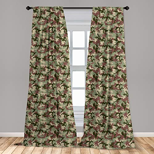 Ambesonne Camo Curtains, Illustrated Green Camouflage in Forest Colors Hunter Theme, Window Treatments 2 Panel Set for Living Room Bedroom Decor, 56
