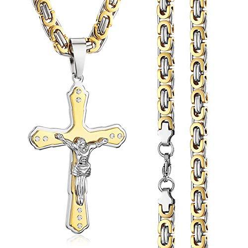 JINKEBIN Collares Crucifijo religioso Jesús Cruz Collares para hombres cristianos ortodoxos católicos colgantes collares acero inoxidable cadenas bizantinas