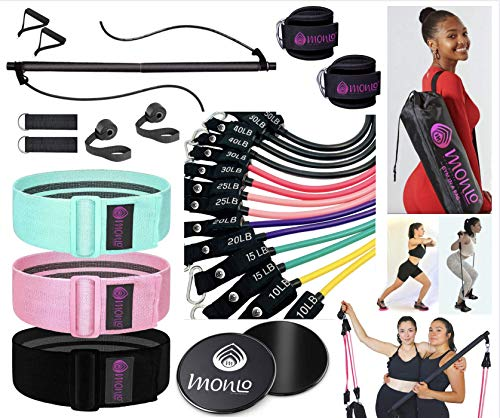 Pilates Bar with Resistance Bands Set, 3X Hip Trainer, Door Anchors & Hand Grips, Leg/Ankle Straps & Core Gliders w. Waterproof Carry Bag. Guide NOT Included