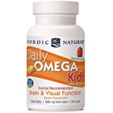 Nordic Naturals Daily Omega Kids, Strawberry - 30 Mini Soft Gels - 340 mg Total Omega-3s with EPA & DHA - Brain & Visual Function - Non-GMO - 30 Servings