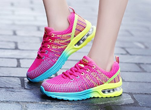 Zapatos de Running para Hombre Mujer Zapatillas Deportivo Outdoor Calzado Asfalto Sneakers Negro Rojo Gris 35-44 Rojo 42