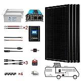 ACOPOWER 400 Watt (4pcs 100W Mono) Solar Panel Kit + 3000 Watt Power Inverter + Gel Battery Bank for RV, Boat, Cabin, Off-Grid 12...